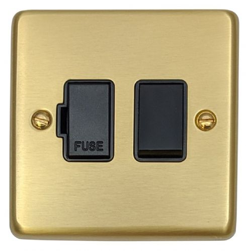 G&H CSB57B Standard Plate Satin Brushed Brass 1 Gang Fused Spur 13A Switched